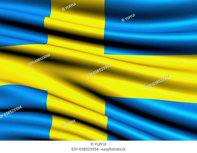 Flag of Sweden. Close up
