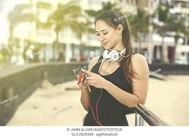Woman changing song