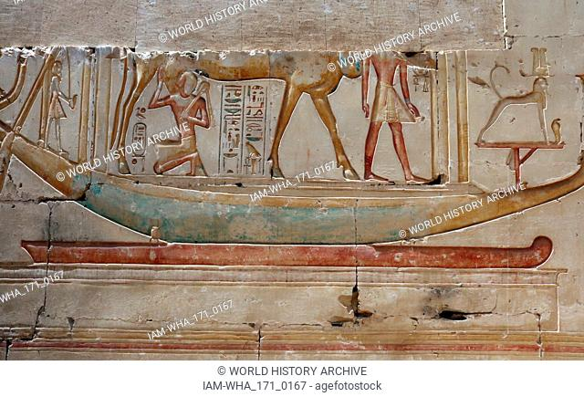 Abydos, one of the oldest cities of ancient Egypt; The sacred boat and goddess Hathor as Cow
