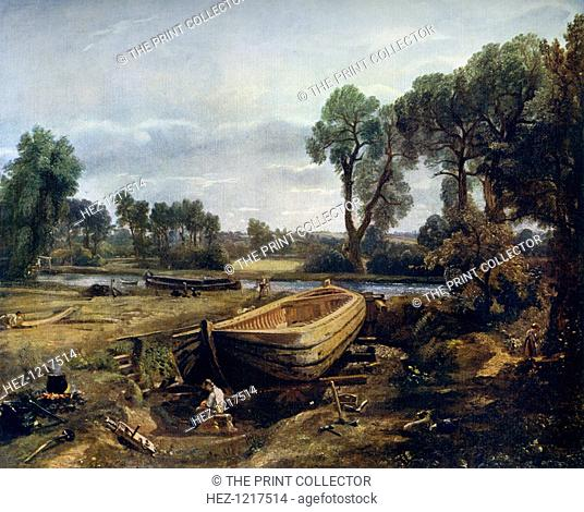 Boat Building Near Flatford Mill', 1815, (1912). A colour print from Famous Paintings, with an introduction by Gilbert Chesterton, Cassell and Company, (London