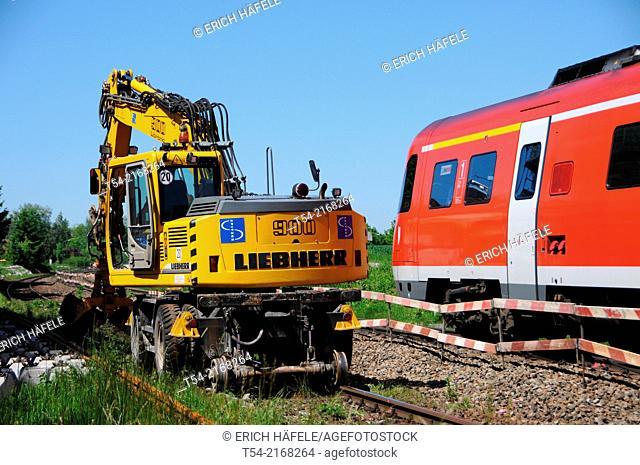 Rail excavators Liebherr when working on train tracks