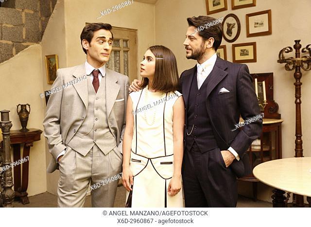 Raul Torotosa, Giulia Charm and Angel de Miguel in El Secreto de Puente Viejo set filming on June 08, 2017 in Madrid, Spain. (Photo by Angel Manzano)