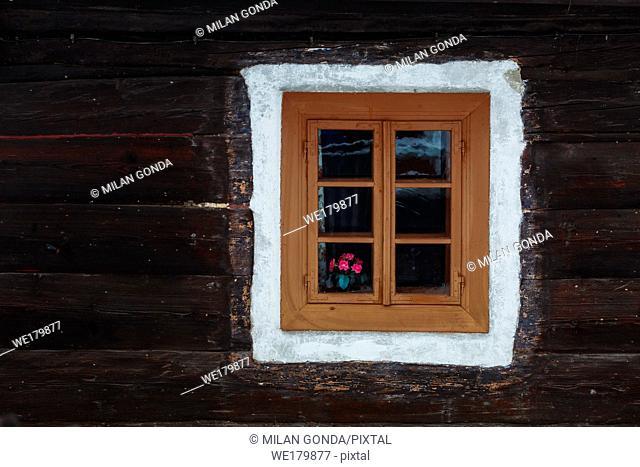 Window of a traditional house in Turcianske Jaseno village, northern Slovakia