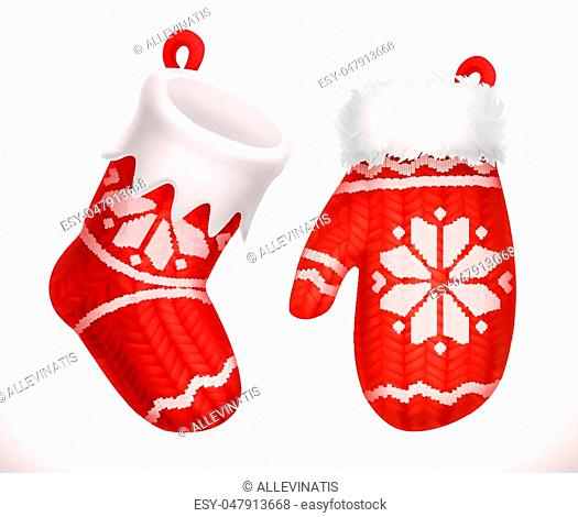Christmas sock and winter knitted mitten. 3d icon