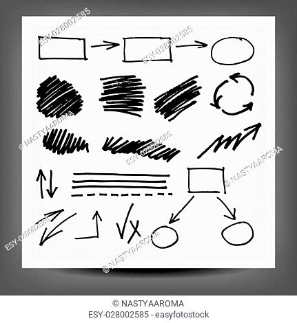 vector highlighter elements, hand drawn circles, frames and arrows. 10 eps