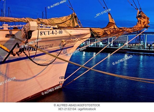 Sailboat Santa Eulalia at night, Port Vell, Barcelona, Catalonia, Spain