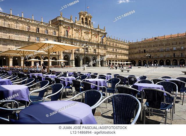 Plaza Mayor, Main Square, terraces, Salamanca, Castilla y León, Spain