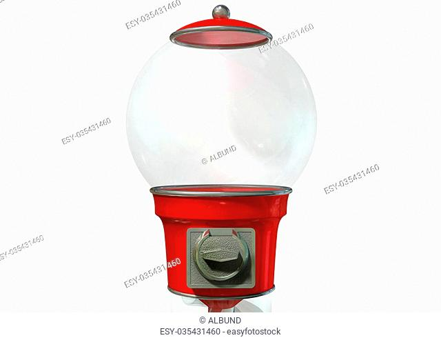 A regular empty red vintage gumball dispenser machine made of glass and reflective plastic with chrome trim on an isolated white background