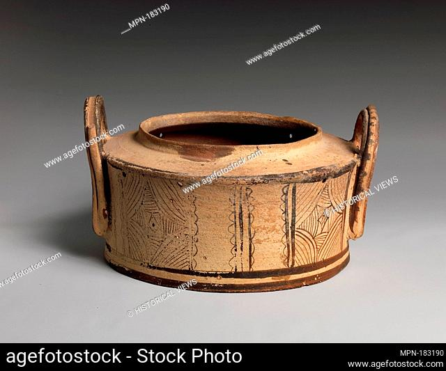 Terracotta pyxis (cylindrical box). Period: Late Minoan III; Date: ca. 1400-1100 B.C; Culture: Minoan; Medium: Terracotta; Dimensions: diameter 10 1/4in