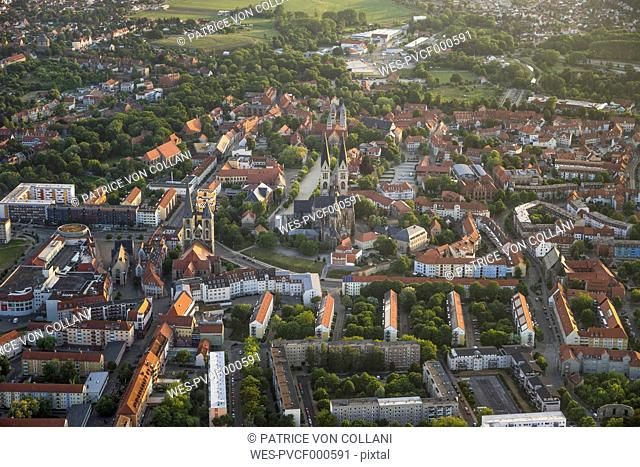 Germany, aerial view of Halberstadt at evening twilight