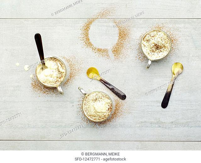 Cappuccino desserts served in glasses