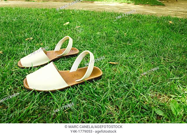 Tipical Mallorca Shoes named Abarcas, he albarca or covers a type of footwear is made ??in rustic rawhide, which covers only the soles of the feet