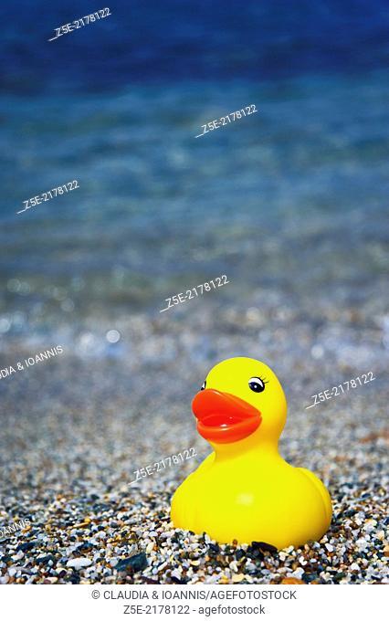 Rubber duck on Aegean beach
