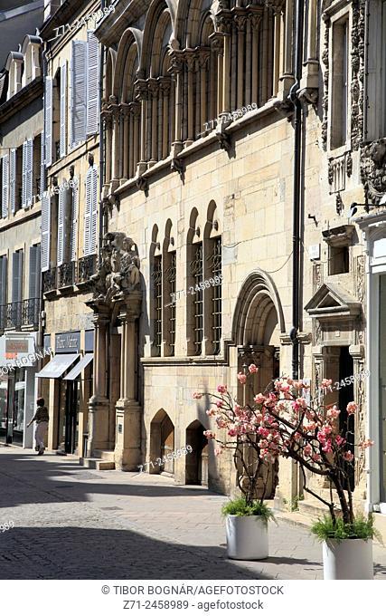 France, Bourgogne, Dijon, street scene, historic architecture