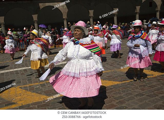Scene from the celebrations of the Inti Raymi Festival at Plaza de Armas in the historic center, Cusco, Peru, South America