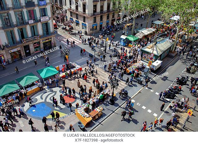 La Rambla,Sant Jordi's Day April 23rd ,Barcelona, Catalonia,Spain