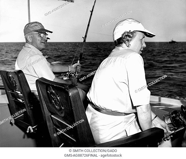 Photograph of President Harry S Truman and Mrs Bess (Wallace) Truman fishing, Florida, December 2, 1949. Image courtesy National Archives. ()
