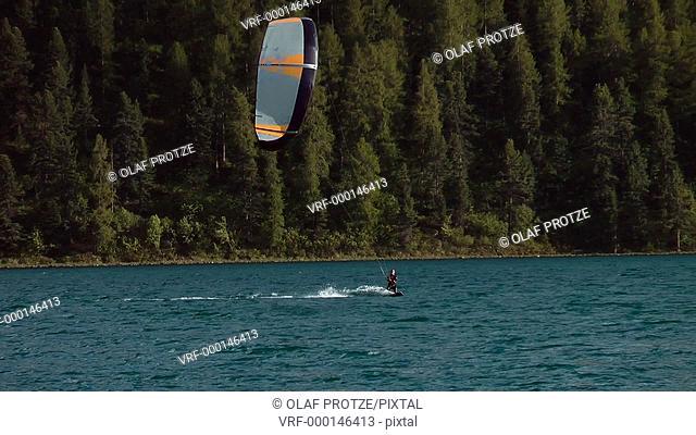 Kitesurfer at Lake Silvaplana, Switzerland