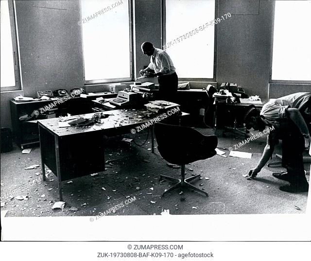 Aug. 08, 1973 - Letter bomb damage in stock exchange office.: A girl secretary was injured when a letter bomb blew up in a small office on the 22nd floor of the...