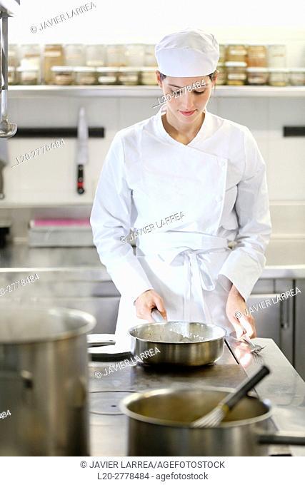 Chef, Cook in cooking school, Cuisine School, Donostia, San Sebastian, Gipuzkoa, Basque Country, Spain, Europe