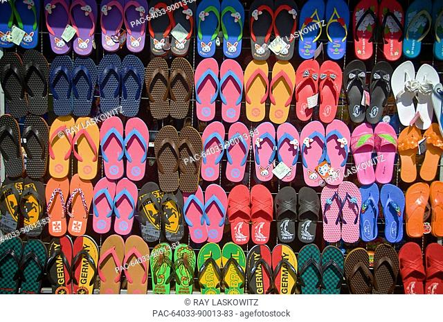 Thailand, Si Sawat, Inexpensive flip flops are for sale almost everywhere you look in Thailand
