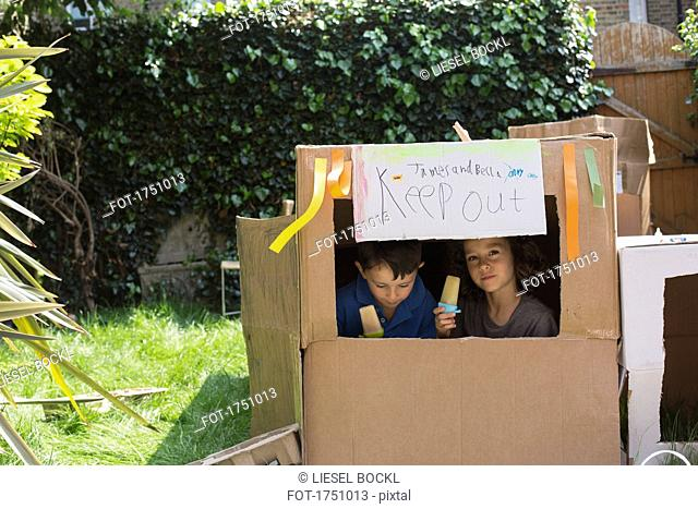 Multi-ethnic friends sitting in cardboard playhouse with flavored ices at back yard