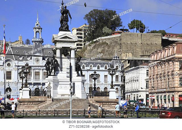 Chile, Valparaiso, Plaza Sotomayor, Heroes of Iquique Monument, Ex-Intendance,