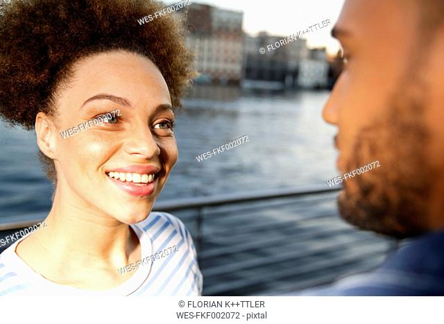 Young couple meeting in the city