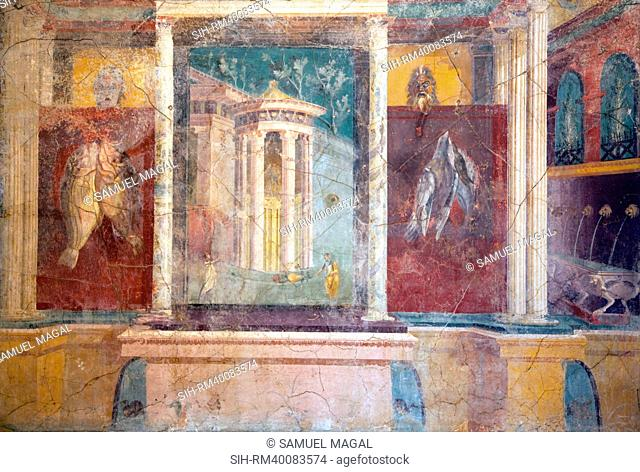 Fresco representing the entrance to a sanctuary, flanked by two wings provided with fountains spouting water into a pool