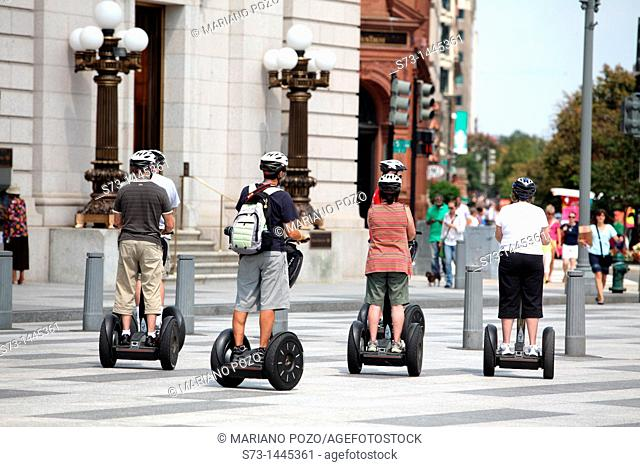 Tourists on electric skates visiting the city, Washington D.C, United States