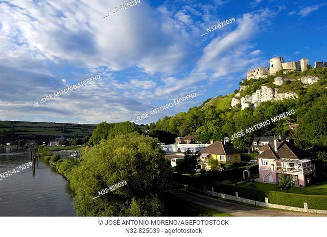 Seine river and Galliard Castle Château-Gaillard, Les Andelys Seine valley, Normandy, France