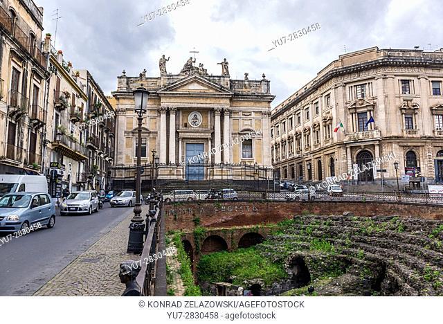 Ruins of Roman Amphitheatre and San Biagio church on Piazza Stesicoro (Stesicoro Square) in Catania city on the east side of Sicily Island, Italy