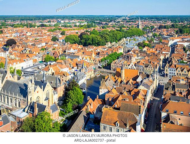 High angle view of old town of Bruges and buildings around Dijver canal, West Flanders, Belgium