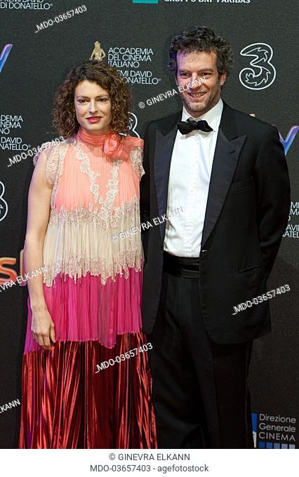 Ginevra Elkann with Giovanni Gaetani dell'Aquila d'Aragona attends the red carpet of 62° David di Donatello Award at De Paolis Studios