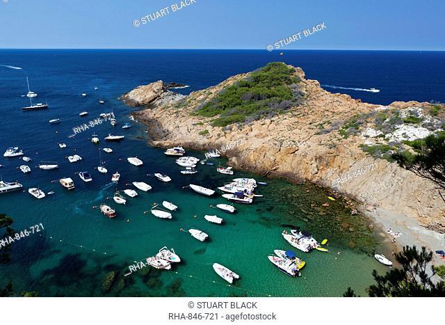 Cove filled with pleasure boats, Sa Tuna, near Begur, Costa Brava, Catalonia, Spain, Mediterranean, Europe
