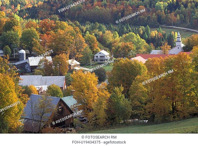 fall, East Topsham, VT, Vermont, Colorful fall foliage surrounds the village of East Topsham in the autumn