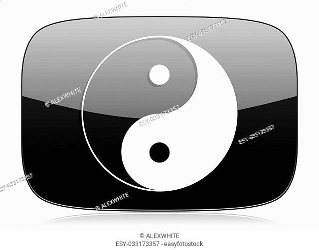 ying yang black glossy web modern icon