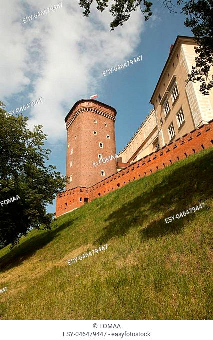 Wawel castle on the hill. Bottom view. Krakow, Poland