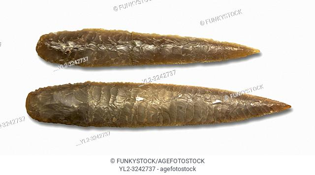 Brown obsidian dagger blades. Catalhoyuk Collections. Museum of Anatolian Civilisations, Ankara. Against a white background