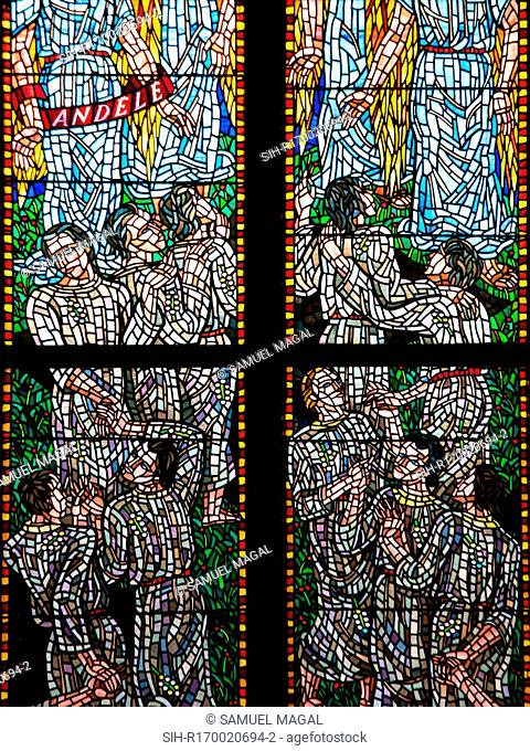 Stained Glass window in the Chapel of St Agnes of Bohemia, at the St Vitus Cathedral, Prague, Czech Republic. The work is an allegory on the Beatitudes