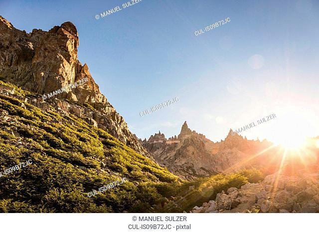 Sunlit landscape view of mountains, Nahuel Huapi National Park, Rio Negro, Argentina
