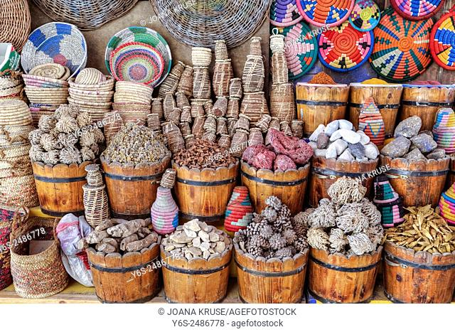 market stand in the old town of Aswan, the Souk, Egypt, Africa