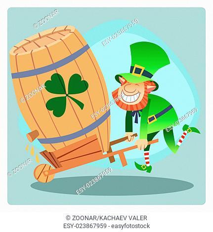 Day Patrick green leprechaun lucky keg of beer