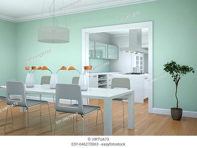 Dining room interior design in modern appartment 3D Illustration