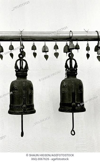 Bells at a Buddhist shrine at the Wat Saket Golden Mountain Temple in Bangkok in Thailand in Southeast Asia Far East
