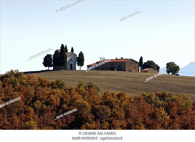 la cappella della madonna di vitaleta, san quirico d'orcia, toscana, italia