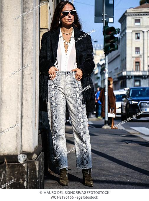 MILAN, Italy- September 20 2018: Erika Boldrin on the street during the Milan Fashion Week