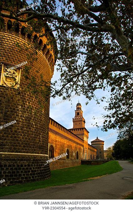 Dawn over Castello Sforzesco, Milan, Lombardy, Italy