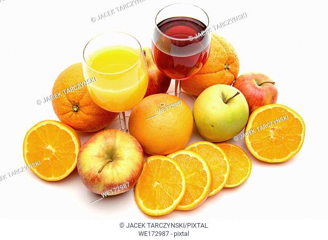 sweet juice and fruits on white background