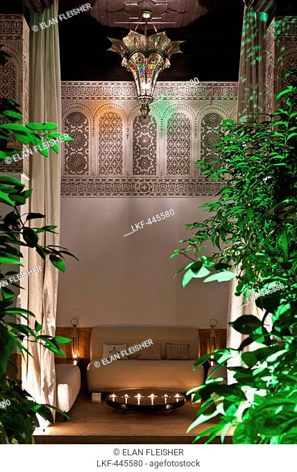Courtyard by night, Riad Farnatchi, Marrakech, Morocco